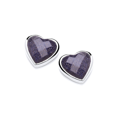 Silver Surround Blue Sandstone Heart Earrings