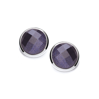 Silver Surround Round Blue Sandstone Earrings