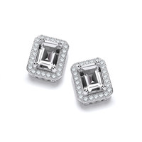 Delightfully Deco Silver and CZ Solitaire Earrings