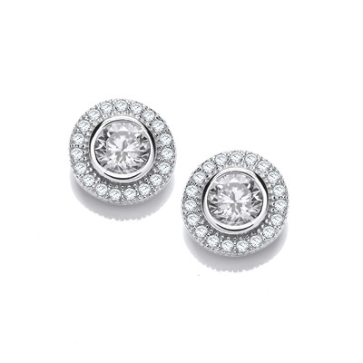 Glitzy Girl CZ Solitaire Earrings