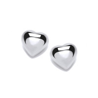 Simple Silver Heart Stud Earrings