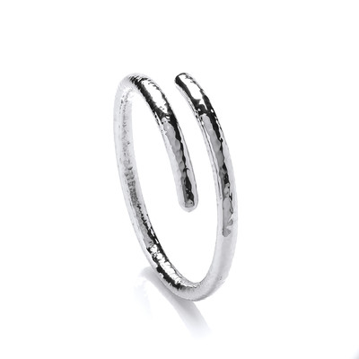 Sterling Silver Hammered Snake Bangle