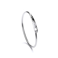 Sterling Silver Slim Oval Bracelet with Clasp Detail