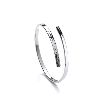 Sterling Silver Slim Beaten End Cleo Bangle