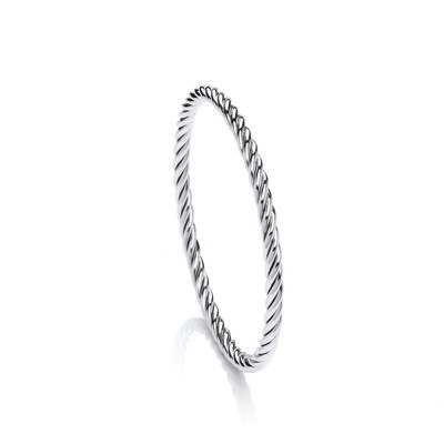 Sterling Silver Eternal Rope Twist Bangle
