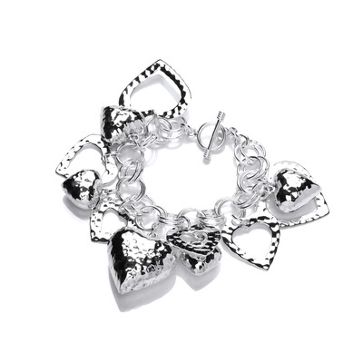 Sterling Silver Multi Heart Charms Bracelet