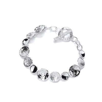 Silver Textured Dishes Bracelet