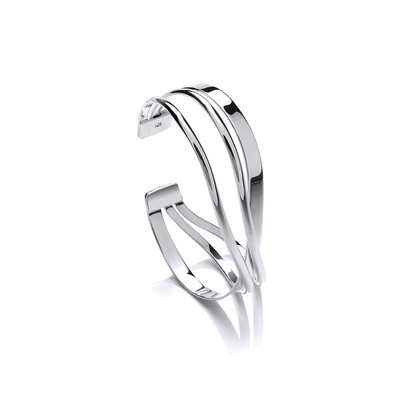 Silver Triple Wave Band Cuff Bangle