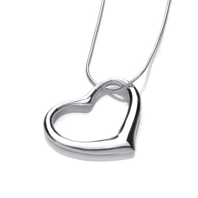 "Sterling Silver Offset Heart Pendant with 16 - 18"" Silver Chain"
