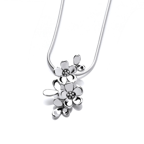 Tiny Sterling Silver Forget-Me-Not Pendant with 16-18 Silver Chain
