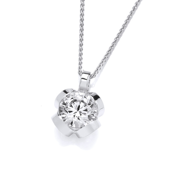 "Silver and CZ pendant with 16 - 18"" Silver Chain"