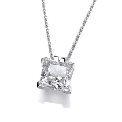 Sterling Silver and Crystal Square Pendant