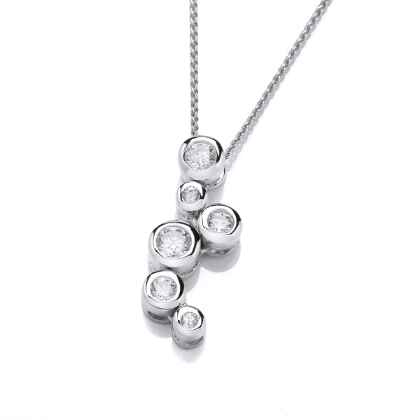 "Sterling Silver and Crystal Bubbles Pendant with 16 - 18"" Silver Chain"