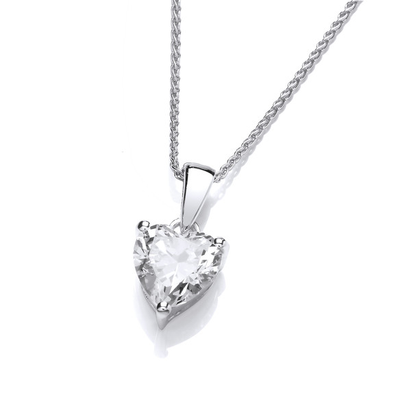 "Single Crystal CZ Heart Sterling Silver Pendant with 16 - 18"" Silver Chain"