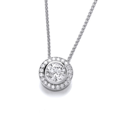 CZ Surround Sterling Silver Solitaire Pendant