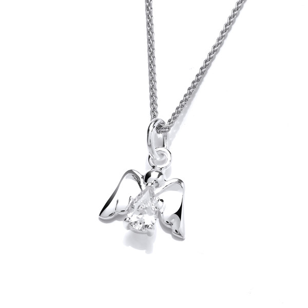 Sterling Silver & Cubic Zirconia Angel Pendant without Chain