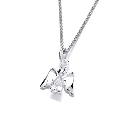 Sterling Silver and CZ Angel Pendant