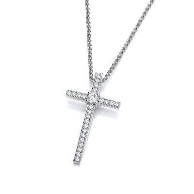 "CZ and Sterling Silver Delicate Cross Pendant with 16 - 18"" Silver Chain"