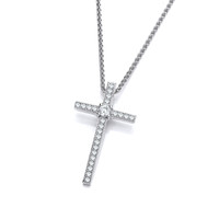CZ and Sterling Silver Delicate Cross Pendant