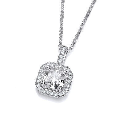 CZ Surround Square Solitaire Pendant
