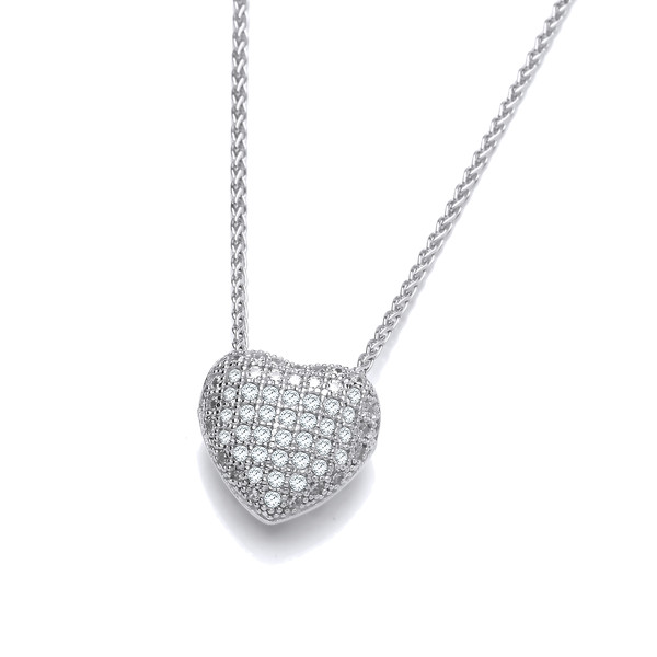 "CZ Small Slotted Heart Sterling Silver Pendant with 16 - 18"" Silver Chain"
