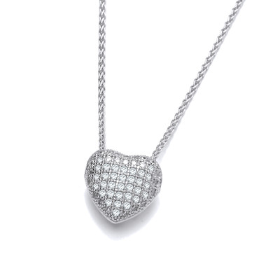 CZ Small Slotted Heart Sterling Silver Pendant
