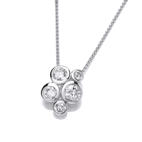 "Sterling Silver Cubic Zirconia Bubble Cluster Pendant with 16 - 18"" Silver Chain"