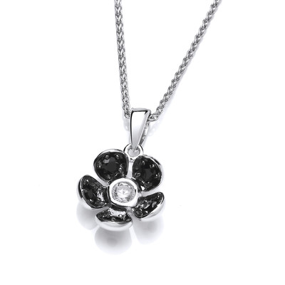 Beautifully Black Crystal Flower Pendant