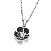 Beautifully Black Crystal Flower Pendant without Chain