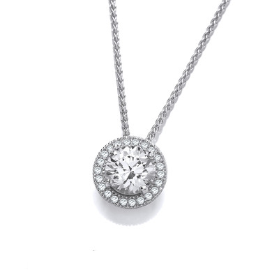 Diamond Bright Silver and CZ Pendant