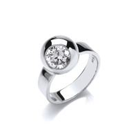 Sterling Silver and CZ Bowl Ring