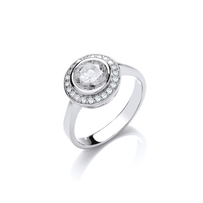 Sterling Silver CZ Surround Solitaire Ring