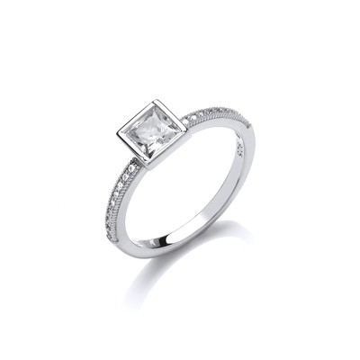 CZ Square Solitaire Sterling Silver Ring