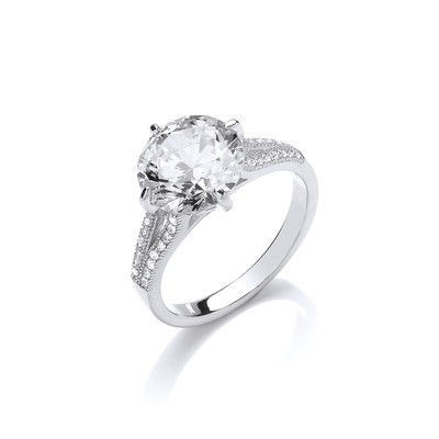 CZ and Sterling Silver Split Shoulder Large Solitaire Ring