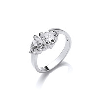 A Heart Each Silver and CZ Ring