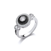 Elegant Silver and CZ Evening Ring