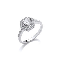 Sterling Silver and CZ Surround Hexagon Solitaire Ring
