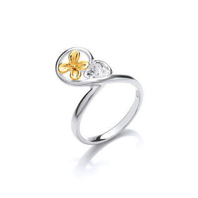 Hearts and Flowers Silver and Gold Vermeil Ring