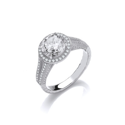 Glamour Galore! Silver and CZ Ring