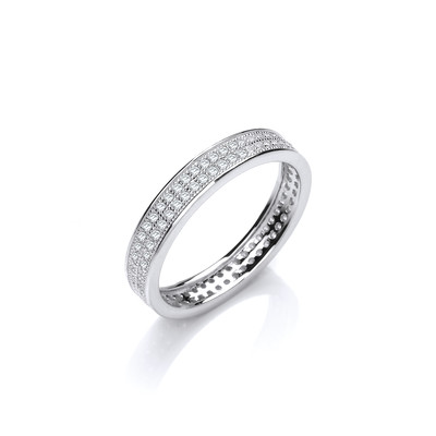 Slim Silver and CZ Wedding Band Ring