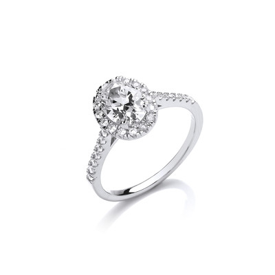 Silver and Oval CZ Solitaire Ring
