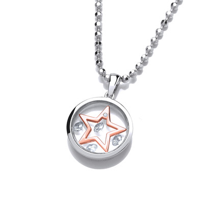 Celestial Silver and Rose Gold Mini Shooting Star Pendant