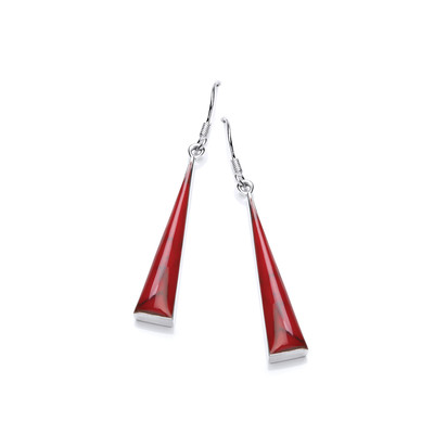 Sterling Silver and Formed Red Jasper Long Triangle Earrings