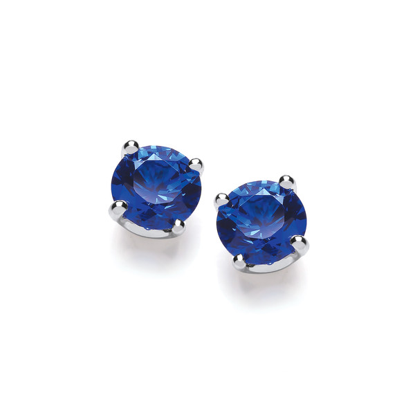 Sterling Silver Simple Sapphire Cubic Zirconia Solitaire Stud Earrings
