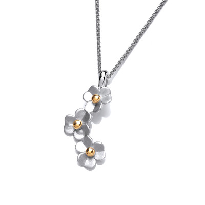 Silver daisy drop pendant without Chain