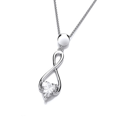 Silver and Cubic Zirconia Heart Celtic Twist Pendant without chain