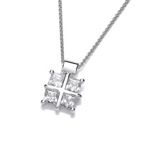 Silver and Cubic Zirconia Square Cross Pendant