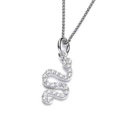 Silver and CZ Serpent Pendant