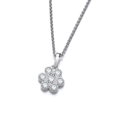 Silver and Cubic Zirconia Petal Pendant