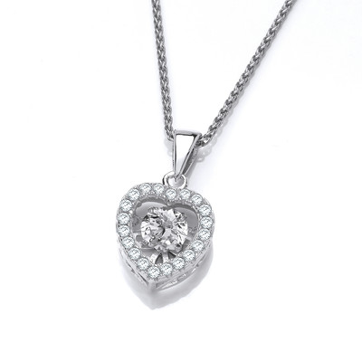 Silver and Dancing Cubic Zirconia Heart Pendant